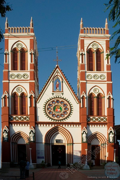 "The Eglise de Sacre Coeur de Jesus<br /> built by French missionaries in the 1700's, this white and brown neo-gothic church is built in a contrasting Neo-Gothic manner, with towers flanking a central gable and stained glass windows on the side<br /> Pondicherry, India<br /> <br /> more pics:  <a href=""http://Hershy.smugmug.com/gallery/3951305_mw7Dp/1/289184725_zpLUc"">http://Hershy.smugmug.com/gallery/3951305_mw7Dp/1/289184725_zpLUc</a><br /> <br /> travel and other info on Pondicherry  <a href=""http://tourism.pondicherry.gov.in/"">http://tourism.pondicherry.gov.in/</a>"