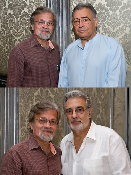 "165 9th Oct<br /> Lucky Me! <br /> <br /> YES! That's me with Zubin Mehta (the world famous orchestra conductor ) & Placido Domingo (of the three tenors & famous for his own achievements). Zubin Mehta is here with The Israel Philharmonic Orchestra for 5 performances in Mumbai. Daniel Barenboim (Pianist), Pinchas Zukerman (Violininst) & Barbara Frittoli (Soprano) are the other stars. <br /> <br /> The photographs were taken at a press conference this morning. Son Jay's friend Lakshmi is Arts & Culture Editor of a national daily and she managed to get me there. I will soon put up pictures shot there but thought of sharing this (two pics actually) shot by Lakshmi. <br /> <br /> Thanks for making my day Lakshmi! <br /> <br />  <a href=""http://www.javeri.net"">http://www.javeri.net</a>"