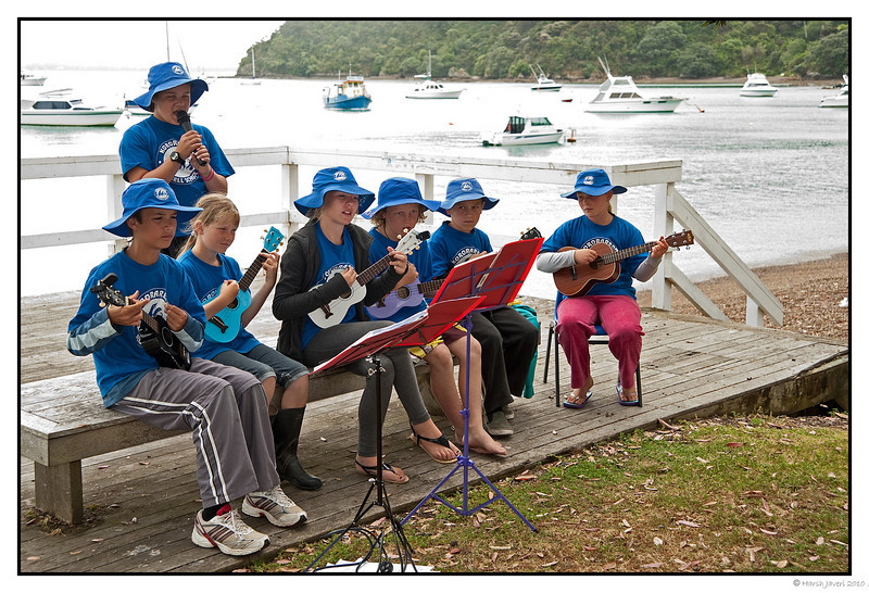 "3rd year Pic 147 - Jan 29 2011<br /> <br /> This group of children were playing lovely songs by the beach at Russell. <br /> <br /> Russell, a quaint island has a population of under 1000 people! <br /> <br /> Russell, formerly known as Kororareka, was the first permanent European settlement and sea port in New Zealand. It is situated in the Bay of Islands, in the far north of the North Island<br />  <a href=""http://www.russellnz.co.nz/"">http://www.russellnz.co.nz/</a>"