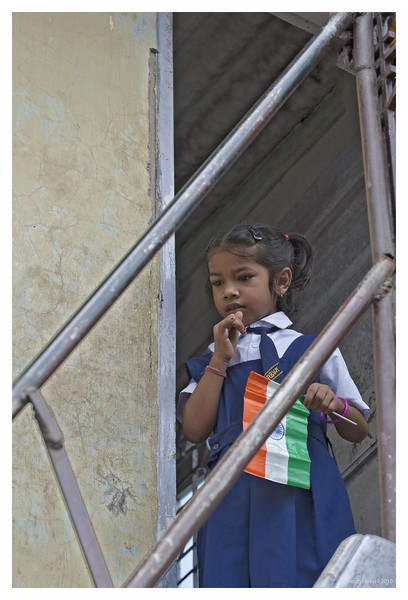 3rd year Pic 047 - Sep 09 2010<br /> Girl with flag, Dhobi Ghat<br /> <br /> 15th August is India's Independence day and this girl was at her school for a flag hoisting ceremony.