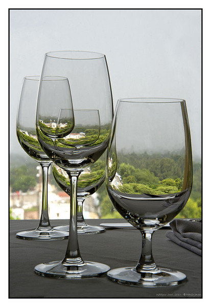 """3rd year Pic 075 - Oct 08 2010<br /> Glasses <br /> <br /> BEST SEEN IN LARGE SIZE<br /> While having lunch at Paantya, a multi-cuisine restaurant at Shiv Nivas palace, I noticed the glasses on the next table... they reflected the ground and buidlings one floor below. <br /> <br /> Required quite a bit of 'cleaning' as it was raining and the window was splattered with drops.<br /> <br /> <br />  <a href=""""http://www.eternalmewar.in/User/Travel/Hotels/Grand_Heritage/Shiv_Niwas/index.aspx"""">http://www.eternalmewar.in/User/Travel/Hotels/Grand_Heritage/Shiv_Niwas/index.aspx</a>"""