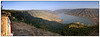 "3rd year Pic 171 - Feb 25 2011<br /> Kates Point, Mahabaleshwar<br /> <br /> Pano 13 images - best seen in large size.<br /> <br /> <br /> Mahabaleshwar is a hill station near Pune (120 km - 75 mi) and (285 km - 177 mi) from Mumbai. It served as the summer capital of Bombay province during the British Raj. Mahabaleshwar is a vast plateau measuring 150 kms (58 sq mi), bound by valleys on all sides. It reaches a height of 1,438 m (4,720 ft) at its highest peak above sea level, known as Wilson/Sunrise Point. It is a popular holiday resort and honeymoon spot, and an important pilgrimage site for Hindus. In the ancient temple of Mahadev in Old Mahabaleshwar 4 other rivers come out from the cow (bull's) mouth apart from Krishna and they all travel some distance before merging into Krishna. These rivers are the Koyana, Venna(Veni), Savitri, and Gayatri.<br /> <br />  <a href=""http://en.wikipedia.org/wiki/Mahabaleshwar"">http://en.wikipedia.org/wiki/Mahabaleshwar</a>"