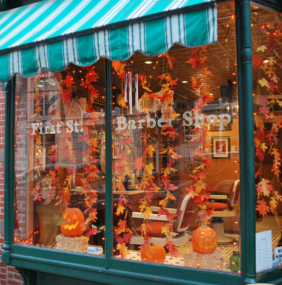 10/24/08 Daily Photo. Day 233.<br /> <br /> First Street Barber Shop, Hoboken, New Jersey, decorated for Halloween.