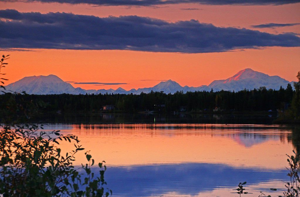 On a wonderful drive home from Denali National Park the timing worked out perfectly as I arrived at this lake near Willow, Alaska and captured Denali, Foraker and Hunter at sunset.
