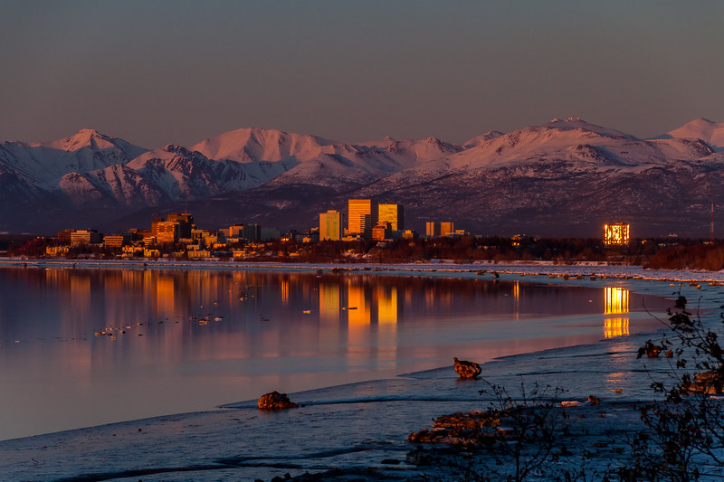 Anchorage Sunset Reflection