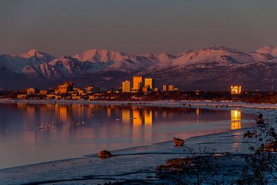 Anchorage Sunset Reflection