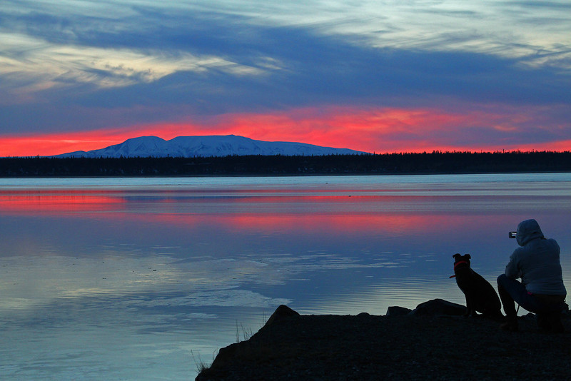 4.1.2014: I guess I'm not the only one who likes to take pictures at sunset. A woman and mans best friend take a moment from their walk to snap a photo of Sleeping Lady across Cook Inlet on a beautiful spring evening in Anchorage.