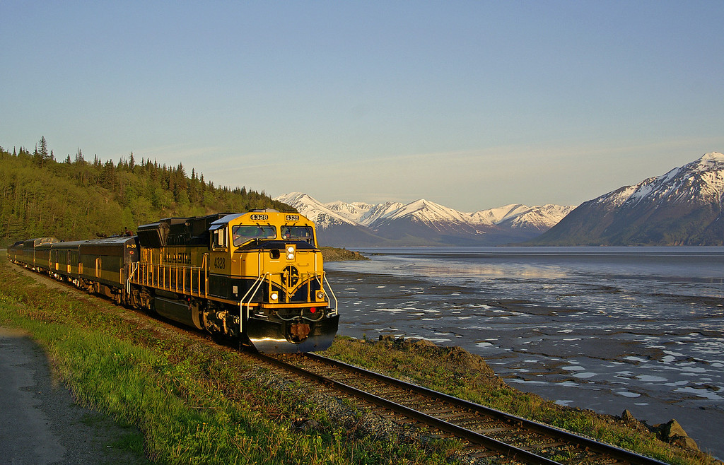 My fascination with trains continued in Alaska. It was hard not to get beautiful pictures with scenes like this. This is the Alaska Railroad's Coastal Classic returning to Anchorage from Seward on a gorgeous spring day. Seen here along Turnagain Arm with the Kenai Peninsula in the background. This around 10:30 PM