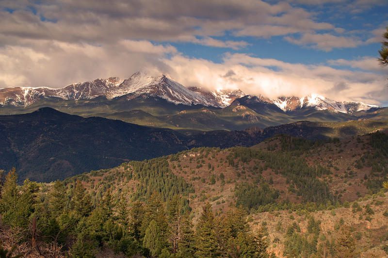 Pikes Peak as seen from Rampart Range Road in the Pike National Forest.