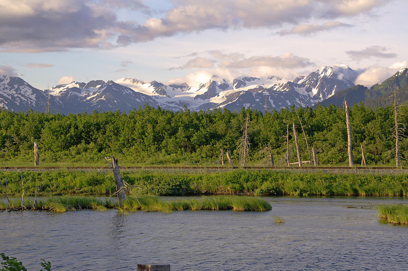 Looking north from Portage, AK. The ocean to mountain scenery is fantastic.