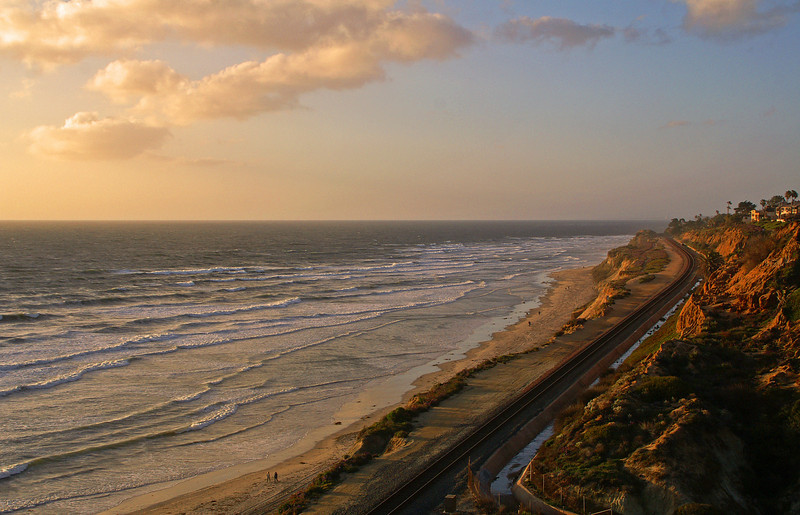 The end of the day from the cliffs overlooking the beach at Del Mar, CA