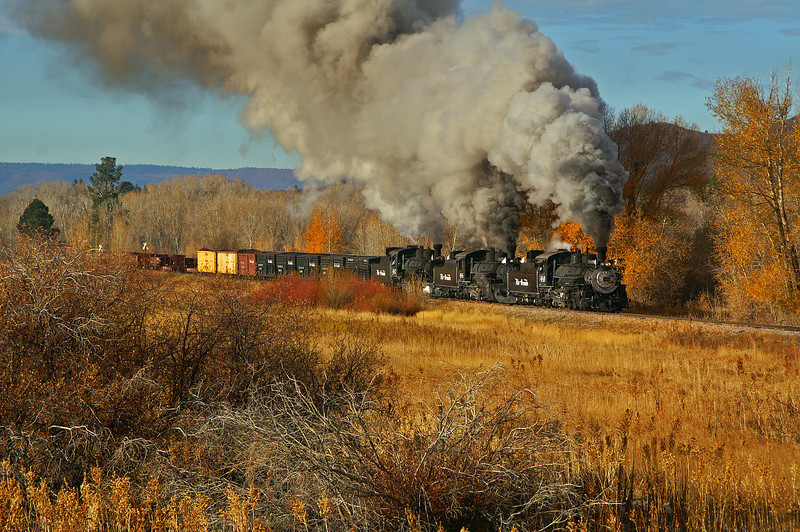 A rare treat for the railroad photographer, three steam engines on one freight train seen leaving Chama, NM on a beautiful morning.