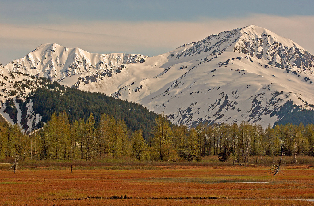 It is the end of May in Alaska and the mountains are still covered with plenty of the white stuff. In fact this area is still prone to avalanches. Looking southeast towards Spencer.