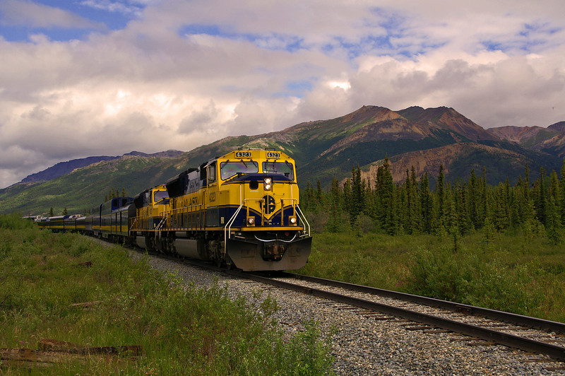 The pride of the Alaska Railroad passenger fleet the southbound Denali Star is just a few minutes from the station stop at Denali Park.