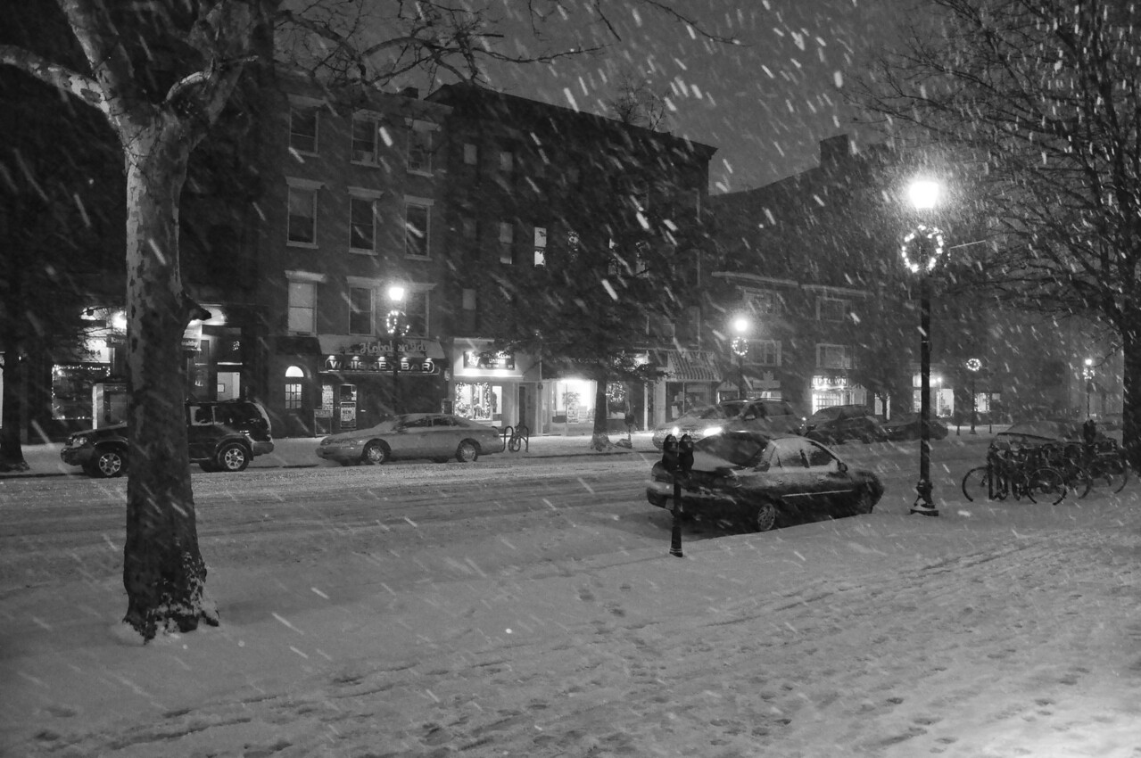 "December 19, 2009 Daily Photo.<br /> <br /> Hoboken in the first snowstorm of the Winter of 2009. <br /> <br /> I took about 50 shots in the snow tonight, all in black & white. Just trying something different.<br /> <br /> I have a feeling we are going to see a lot of snow this year. It's 25 F and the wind is blowing off the Hudson something fierce.<br /> <br /> Here is a link to most of the other photos I took tonight. The gallery also contains photos of other snow days in Hoboken. <a href=""http://www.inourtimephotos.com/Street-Scenes/Hoboken-in-the-Snow/7139148_XkD99/1/745118519_uMcP3"">http://www.inourtimephotos.com/Street-Scenes/Hoboken-in-the-Snow/7139148_XkD99/1/745118519_uMcP3</a>"