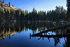 On a backpacking trip in August 2010, I had Twin Lakes entirely to myself, and as evening approached the lake became very still -- truly a tranquil setting.