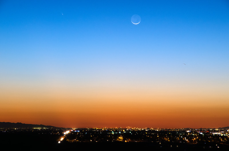 Moon and Pan-Starrs over Phoenix.