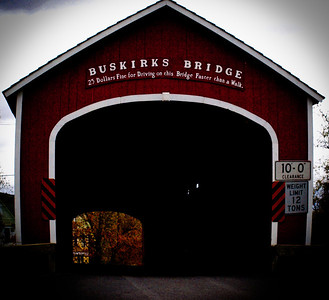 10/27/11:  Buskirk Bridge, Hoosick, NY  Some of you may recognize this bridge even if you have never been to it.  It is one of 29 historic covered bridges in New York state.  It has a William Howe truss design and served the great Northern Turnpike beginning in 1799.   It is especially meaningful to me as it is close to Hoosick Falls (where I have family) and White Creek (where my grandparents lived and my uncles grew up).  The most famous resident was Grandma Moses, who was friends with nearby neighbor Norman Rockwell.  Here is an interesting link:  http://en.wikipedia.org/wiki/Grandma_Moses