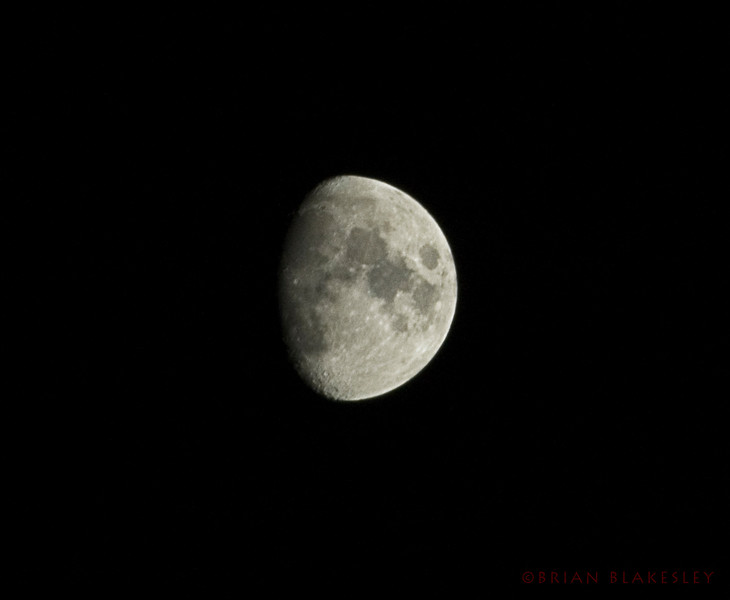 5/8 moon. This is the first decent one I've gotten after a week of learing the 400mm's quirks.<br /> <br /> ISO 800, f22, 1/80