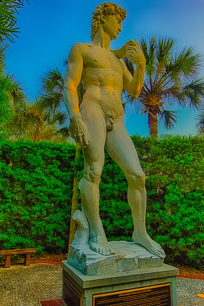 Michelangelo's David at St. Augustine Ripley's Believe It or Not enjoying the sunset even though hidden behind large bushes. Hand held 3 shot +/- 2 (forgot my sticks) PP with Nik HDR Pro 4 and Nik software and Lightroom.
