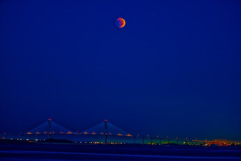 Moon Eclipse over Bridge