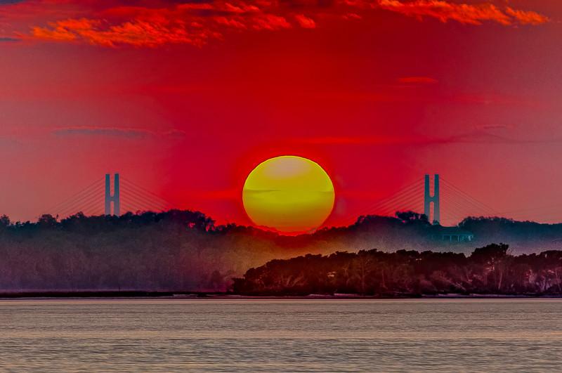 Dames Point Bridge Cradling Sun