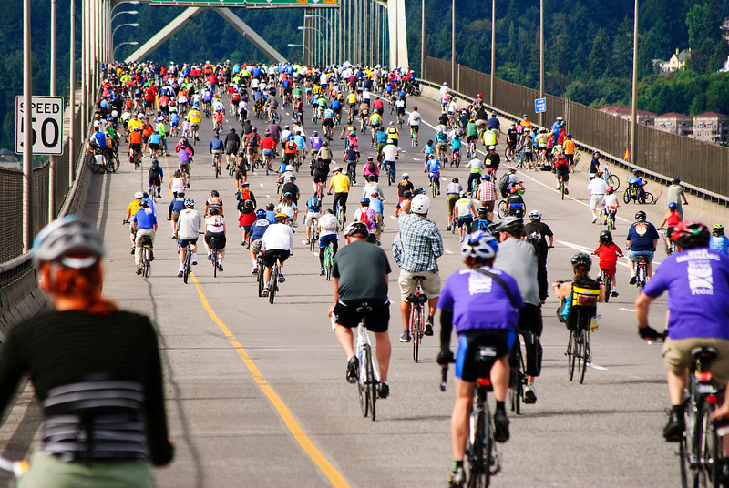 """8-14-11 <b>Bridge Pedal, Portland, Oregon</b> - going over the Fremont Bridge <br><br>We rode across Portland's bridges (this one is part of Interstate 405) with 19,000 of our closest bicycling friends.<br><br>Other pics at <a href=""""http://jrogers.smugmug.com/Out-About/Bridge-Pedal-2011/18537161_V2G72W"""">Bridge Pedal 2011</a>"""