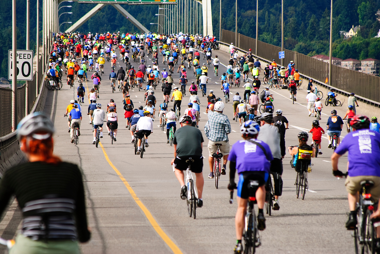 8-14-11 Bridge Pedal, Portland, Oregon - going over the Fremont Bridge We rode across Portland's bridges (this one is part of Interstate 405) with 19,000 of our closest bicycling friends.Other pics at Bridge Pedal 2011