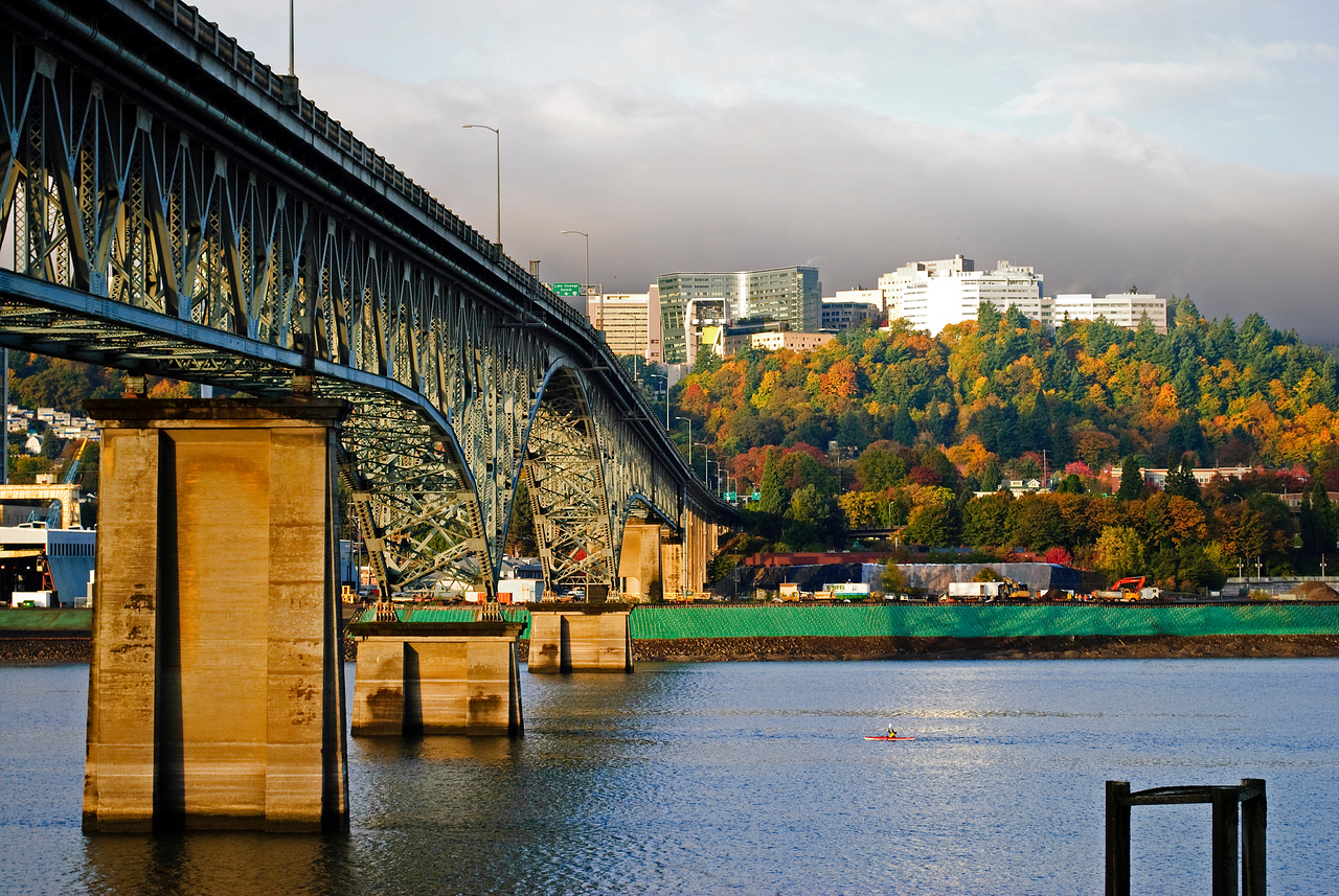 One more shot of Portland's West Hills from the east side...this time with the Ross Island Bridge.