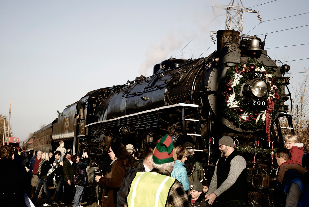 12-04-11  The Christmas Train  The S.P & S. 700 locomotive, decked out for Christmas, resides in and is owned by the city of Portland, Oregon.Other pics (including alternate renderings of this shot) at S.P. & S. 700