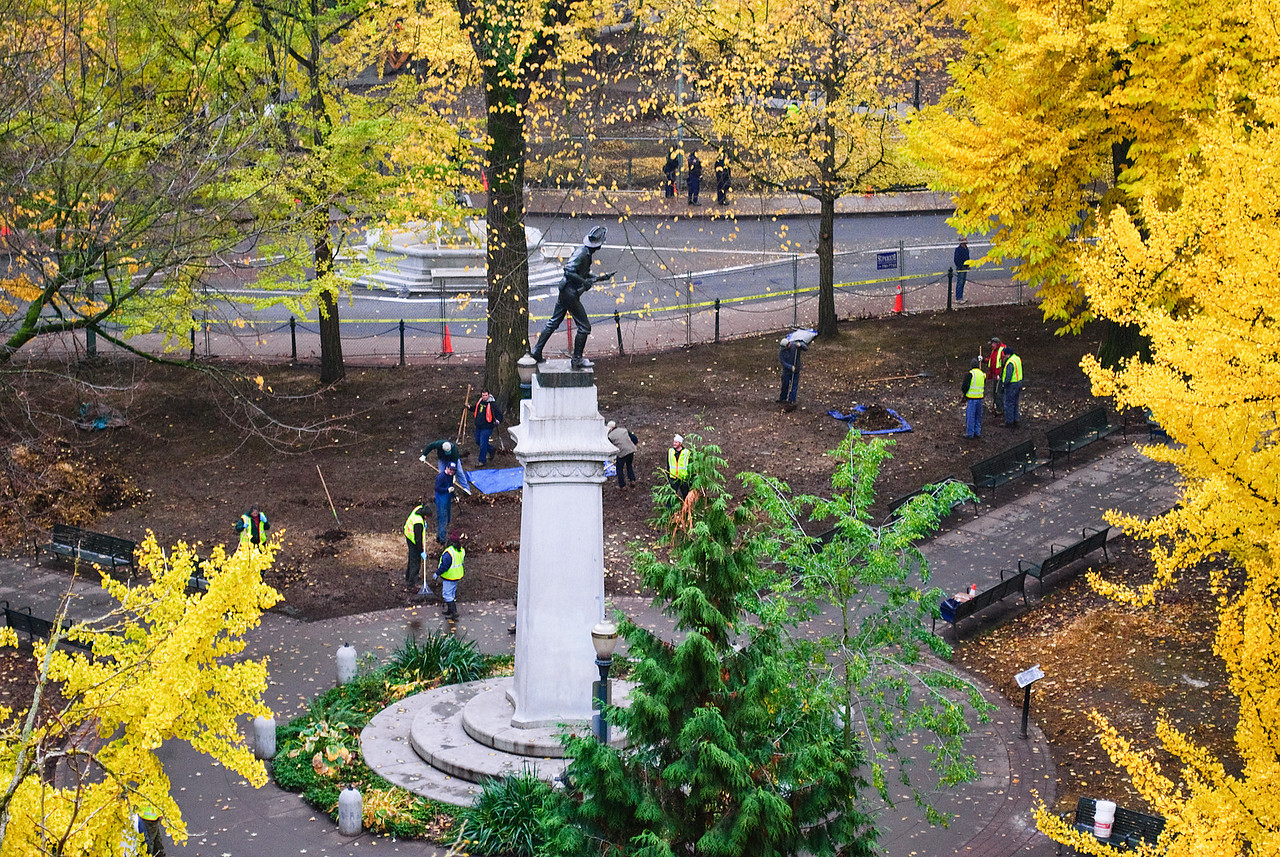 "11-15-11 Lownsdale Square, Portland, Oregon, post-Occupy.  This is 2 days after the 6-week ""Occupy Portland"" encampment was evicted by the city.  This aerial view shows city workers cleaning up the park.
