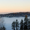 Heavy fog over Happy Valley, Oregon<br /> Mt. St. Helen & Mt. Rainier in the distance<br /> January 16 2009