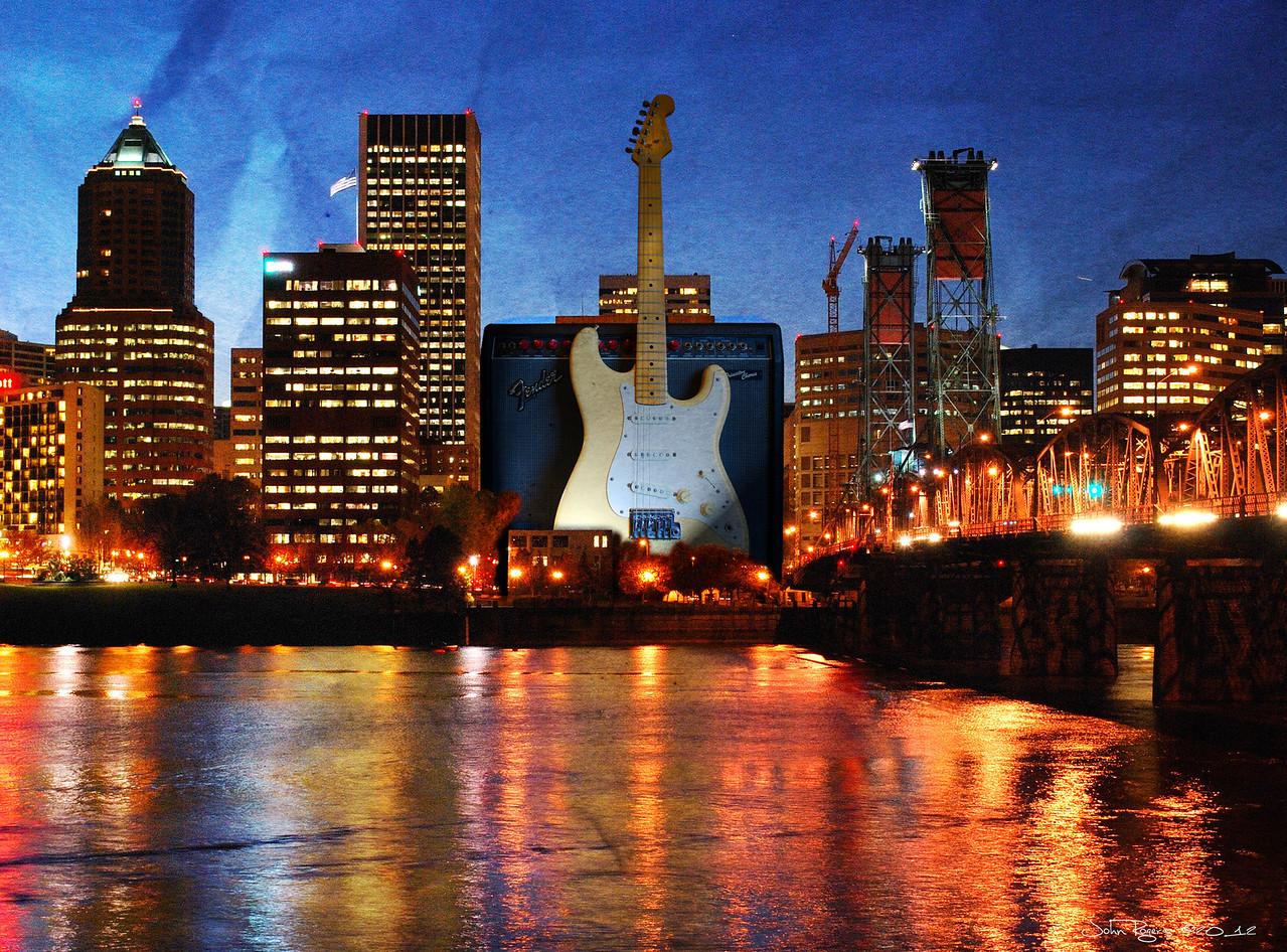 3.30.12   A recent CD cover project  Original city photo:  downtown night  Original guitar photo:  Strat & amp (sepia)