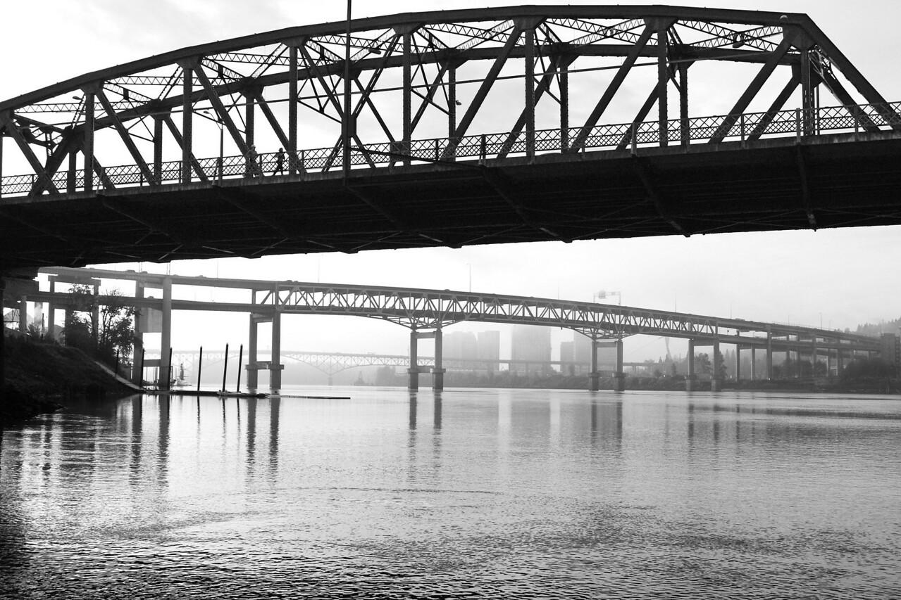 6-19-10 Bridgetown 2 B&W Portland Oregon   Hawthorne Bridge, Marquam Bridge, Ross Island Bridge (closest to furthest)  2011 Calendar - February