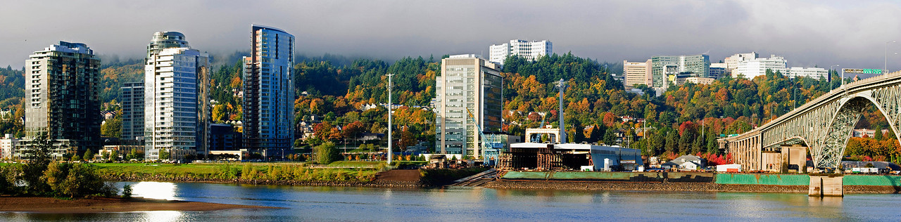 11-03-11 Autumn on the South Waterfront  [panorama version]Portland, Ore. Note the top of the hill is blanketed by fog.