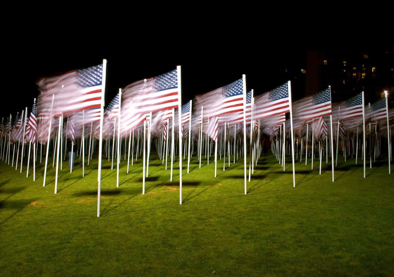 """Field of Honor: 1000 Flags Memorial"" - Memorial Day display, Portland, Ore.  2011 Calendar - July"