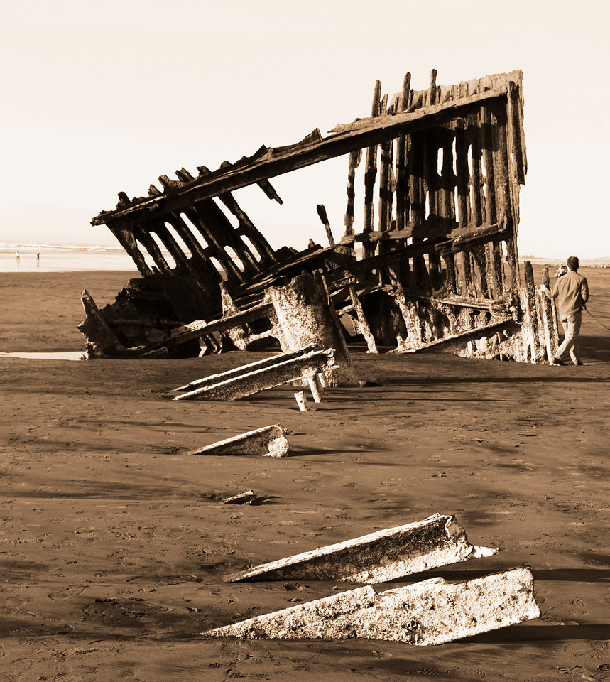 2-05-12 Shipwreck!  The remains of the Peter Iredale, grounded in 1906.  More pics at Beach