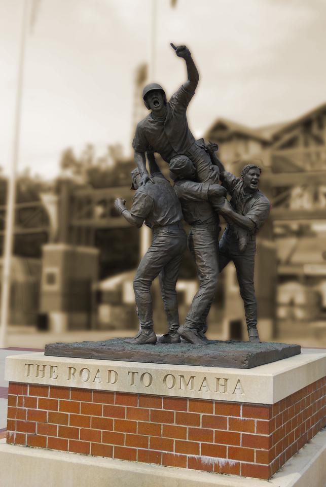 "6-08-09  ""The Road to Omaha""  Sculpture outside of Rosenblatt Stadium, Omaha Home of the NCAA Baseball World Series"