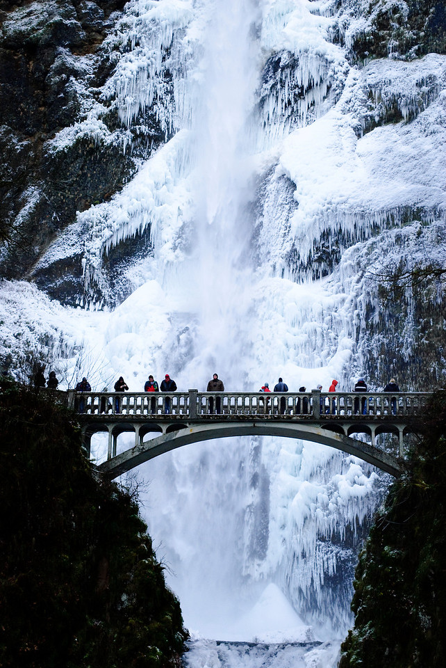 12.08.13  Frozen Multnomah FallsThe subfreezing temperatures didn't stop the crowds from coming to view this spectacle. More pics at Multnomah Falls Ice Dec 2013