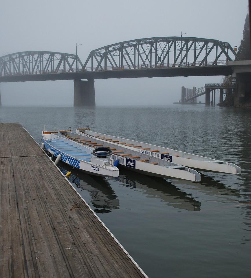 Dragon Boats on the Willamette River Portland, Oregon 1-30-09