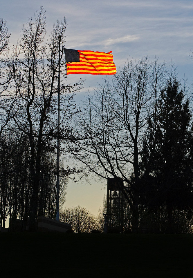 1.24.14  Flag at sunrise  Flag backlit by the early morning sun