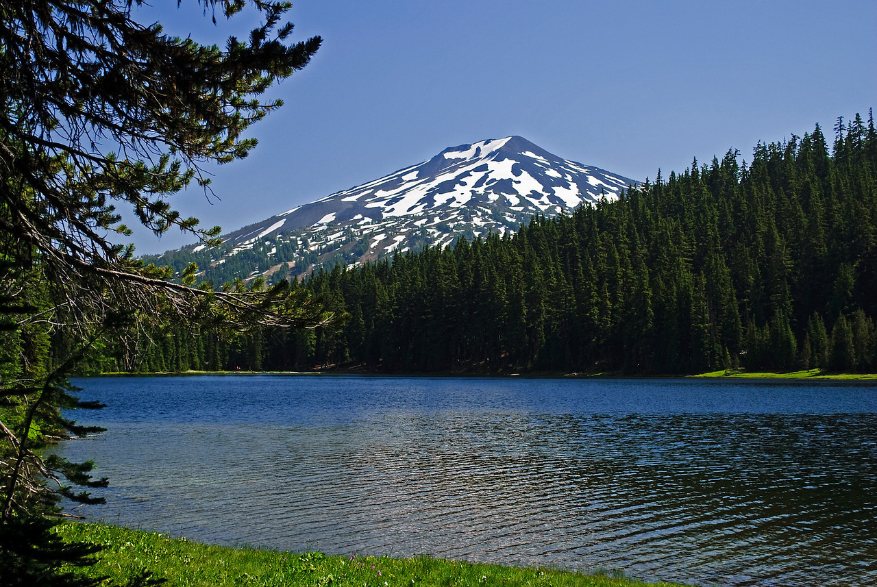 7.29.12  Mt. Bachelor looms over Todd Lake in the high Cascade Mountains  Todd Lake is a beautiful mountain lake sitting at an elevation of 6150 ft.