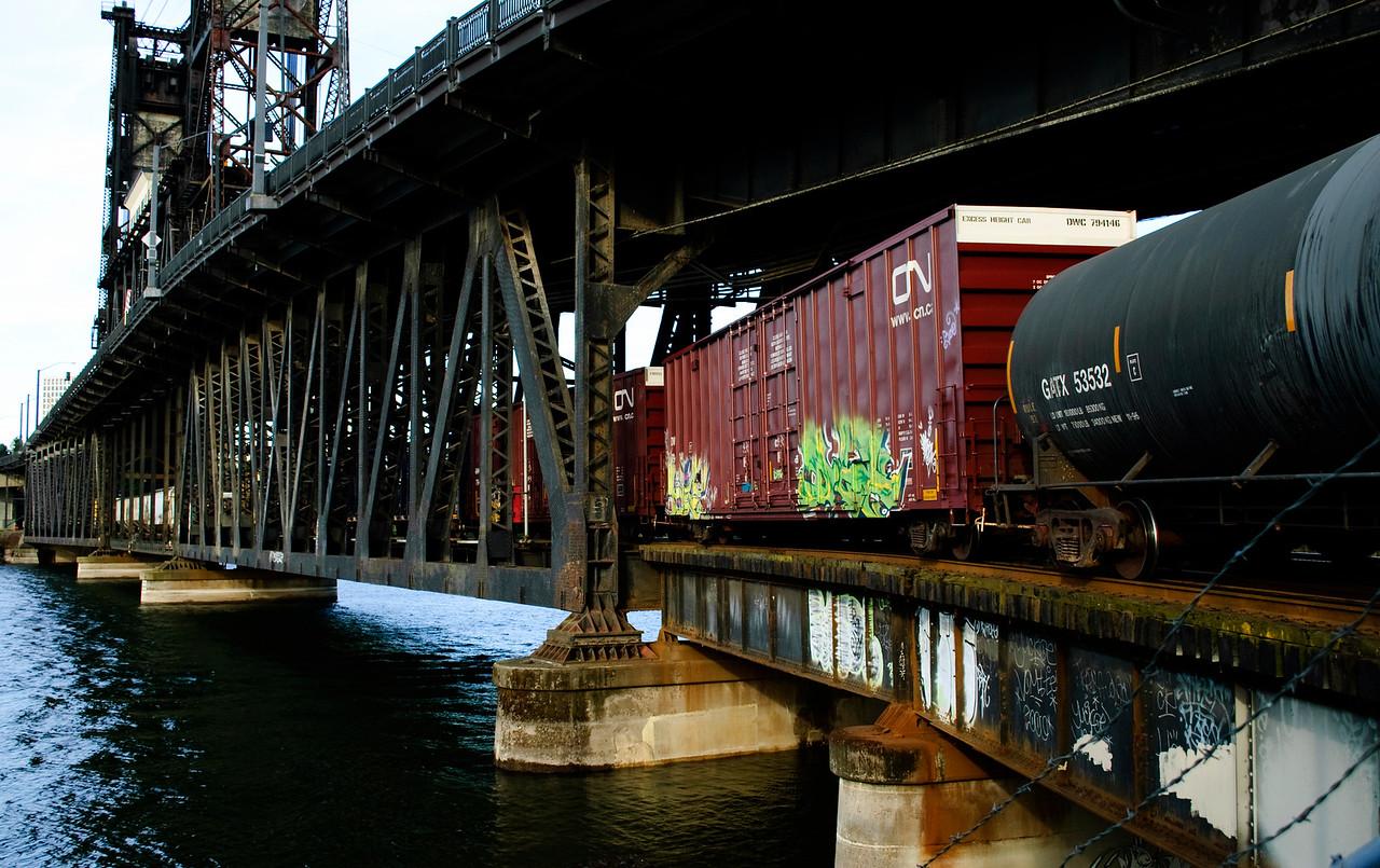 Train on the bottom deck of the Steel Bridge, Portland Ore.