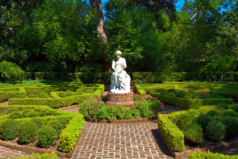 """Ima Hogg's Gardens (10/10/10)<br /> I went to visit """"Bayou Bend"""" or Ima Hogg's Museum and Gardens earlier this week. She is a very famous Texan (know as the """"First Lady of Texas"""").  She is credited with bringing Music & Arts, to the Texas schools,, helping found the Houston Museum of Fine Arts and many others (do a quick internet search on Ima Hogg).  In 1966 she gave her collection and Bayou Bend mansion and gardens to the Museum of Fine Arts in Houston.   This is a photo one of her gardens at Bayou Bend just outside of the coach house.<br /> <br /> Have a great Sunday,<br /> -Bob"""