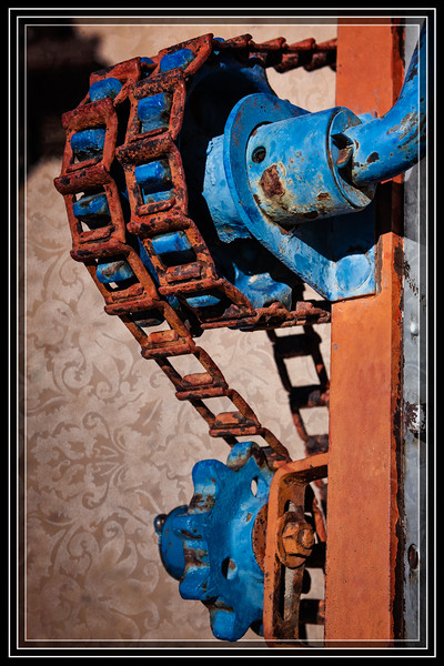 """Farm Equipment Gears and Chains </font><font color=""""PaleGreen"""">Thank You for Making this Daily Photo the <font color=""""Yellow"""">#1 Pick<font color=""""PaleGreen""""> on04/13/2013 </a></font>  Pattern Applied to Image then Removed from Fore Ground (FG).  </font> <a href=""""http://www.rickwillis-photos.com/Portfolio/Best/Hidden-Photos-Without-Frames/26709550_DZD78d#!i=2451395717&k=dc65JQr""""> <font color=""""Red"""">Link to Photo Without Frame</a> </font> <font color=""""Grey"""">"""