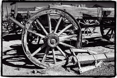 Yuma, AZ-Quartermaster Depot   Weathered Wagon Wheels     Link to Photo Without Frame