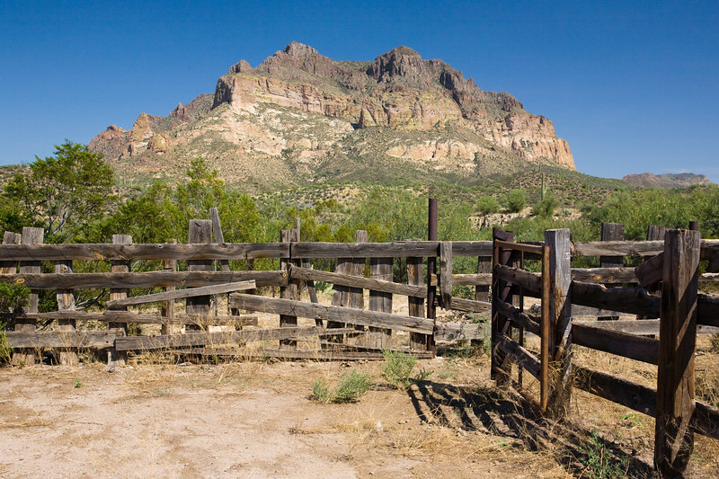 AZ-Superior, Picket Post<br /> <br /> An old corral with a picturesque mountain in the BG...