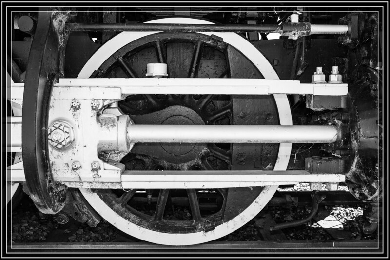 """Yuma, AZ-Southern Pacific Steam Engine X2521 in B&W Power Drive Train Piston  </font> <a href=""""http://www.rickwillis-photos.com/Portfolio/Best/Hidden-Photos-Without-Frames/26709550_DZD78d#!i=2359989651&k=nZ3wCdW""""> <font color=""""Red""""> Link to Photo Without Frame </a> </font>"""