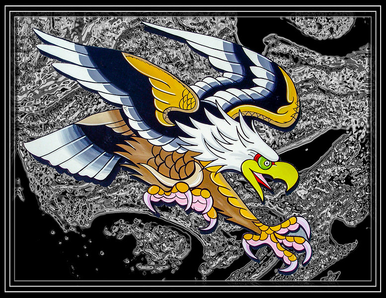 "ART - Screaming Eagle This was on the outside wall of a tatoo parlor.  Of course PP was Applied.  </font> <a href=""http://www.rickwillis-photos.com/Portfolio/Best/Hidden-Photos-Without-Frames/26709550_DZD78d#!i=2363218661&k=2bHgfz3""> <font color=""Red""> Link to Photo Without Frame </a> </font>"
