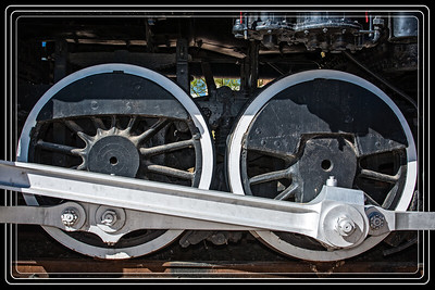 Yuma, AZ-Southern Pacific Steam Engine X2521 Power Drive Train to Wheels     Link to Photo Without Frame